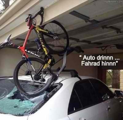 Fahrrad mit Dachschaden